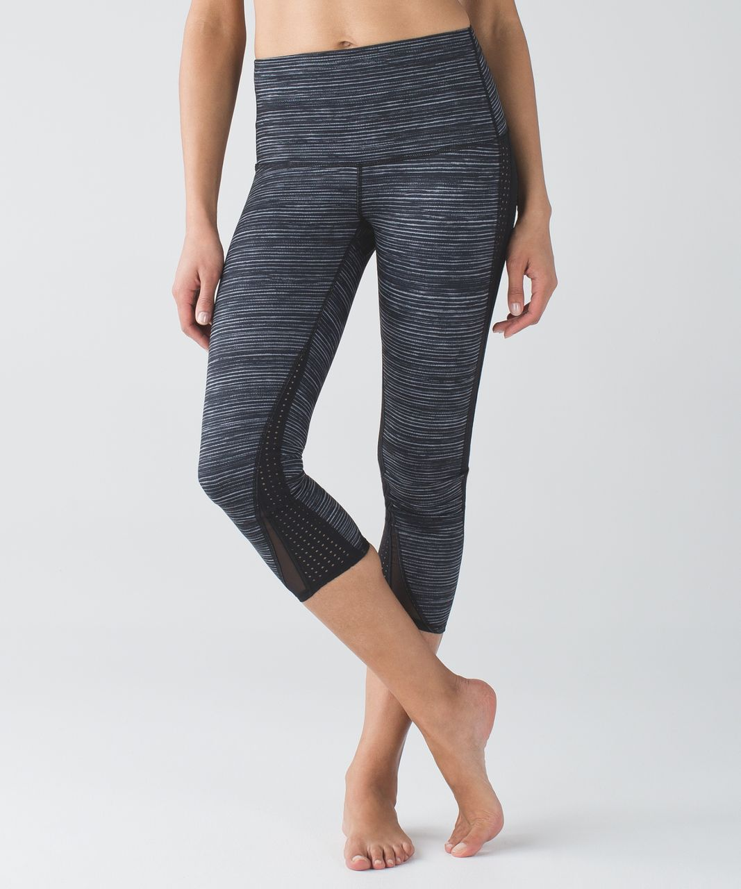 Lululemon Wunder Under Crop - Blurry Belle Battleship Black / Black