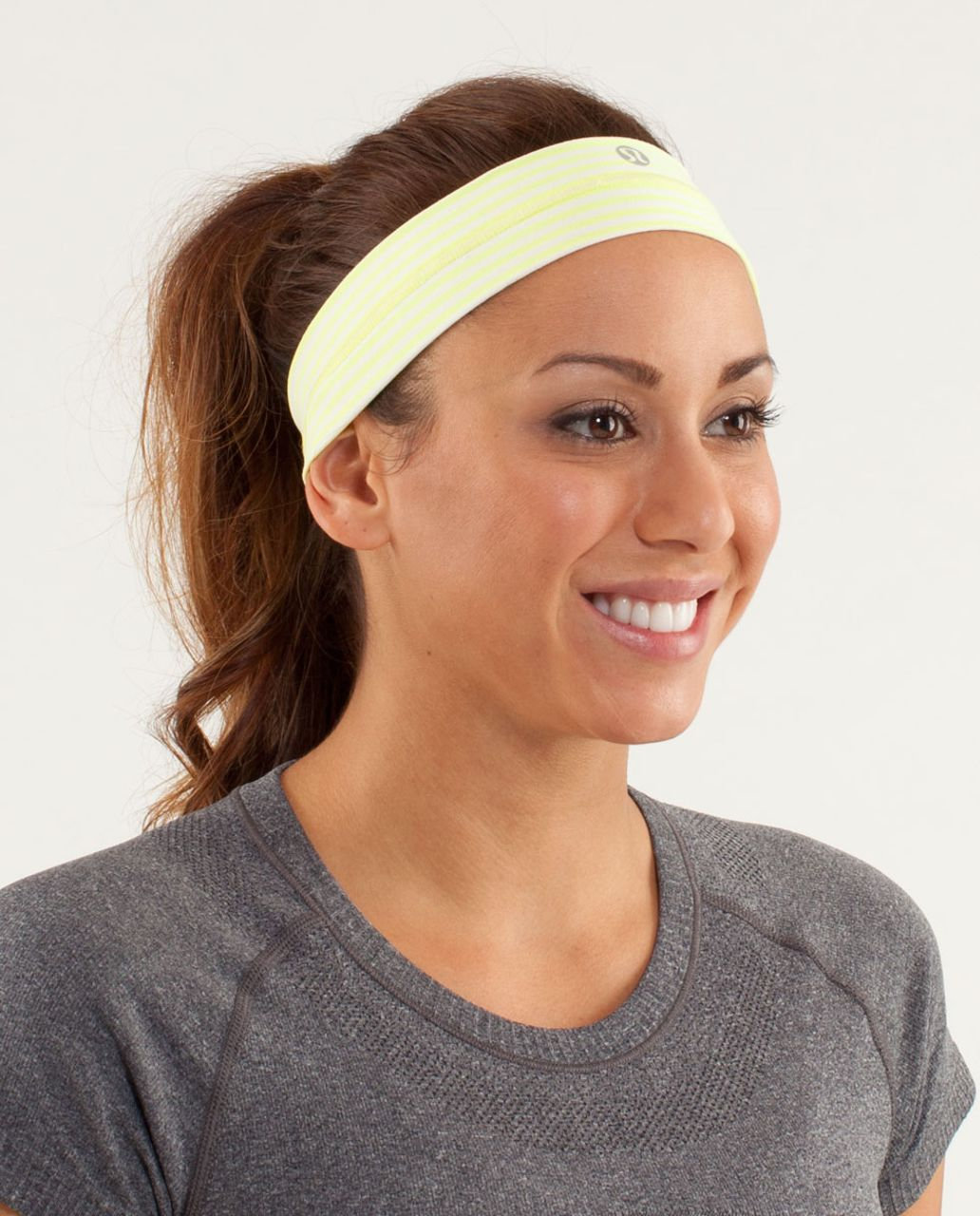 Lululemon Fly Away Tamer Headband - Slope Stripe Polar Cream Clarity Yellow