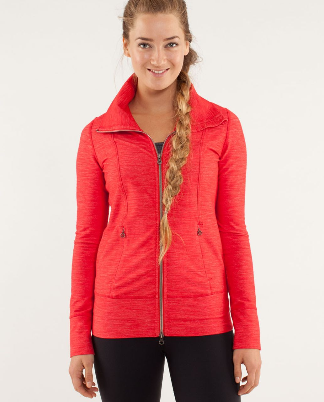bc2a1564d99 Lululemon Daily Yoga Jacket - Reversible Slub Denim Love Red - lulu fanatics