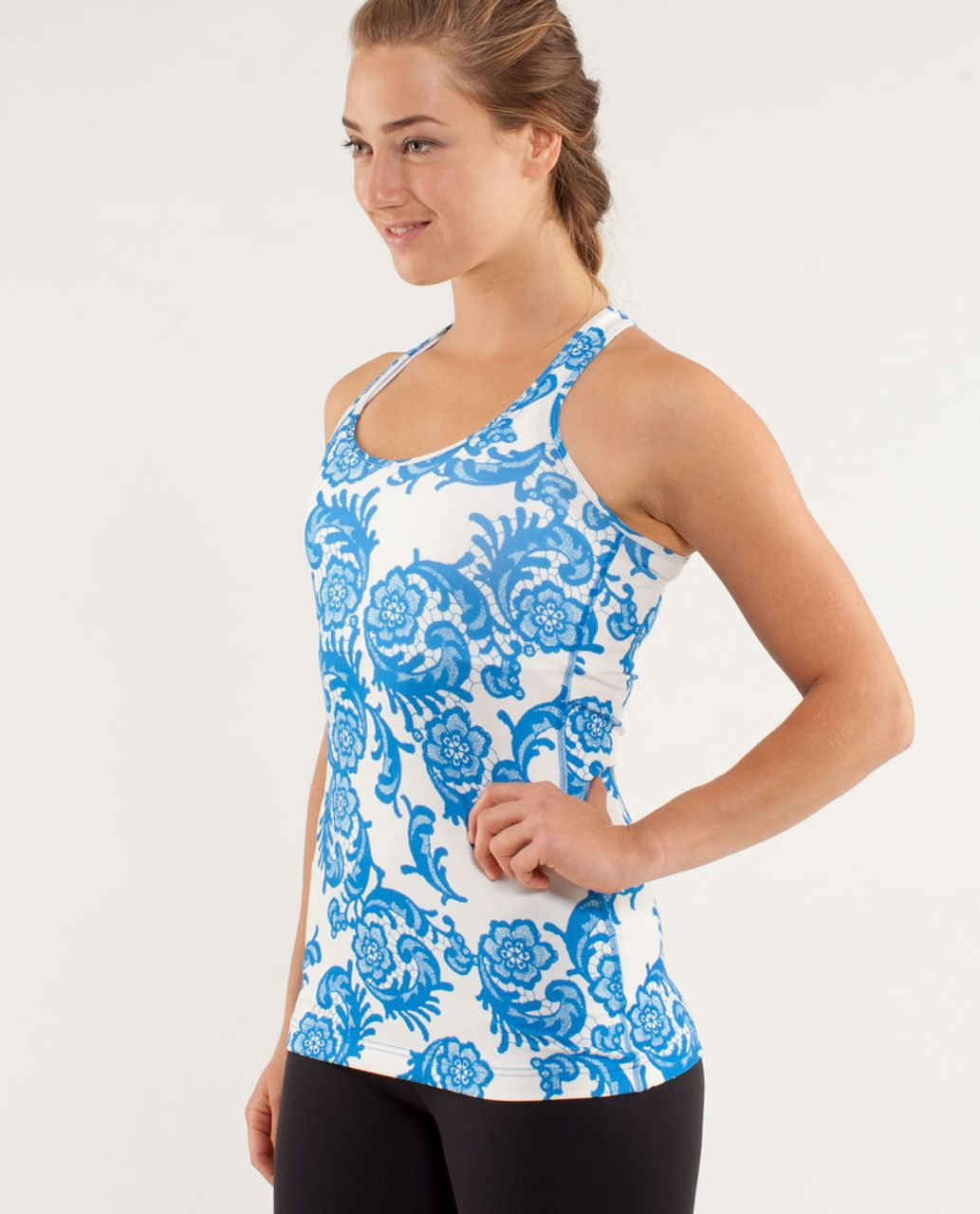Lululemon Cool Racerback - Laceoflage Polar Cream Beaming Blue