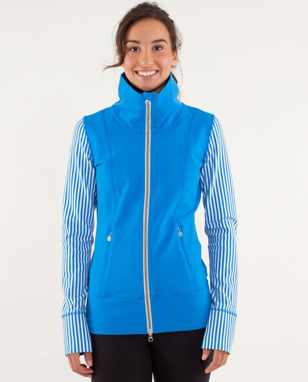 496f98c42b Lululemon Daily Yoga Jacket - Beaming Blue / Classic Stripe Polar Cream  Beaming Blue - lulu fanatics