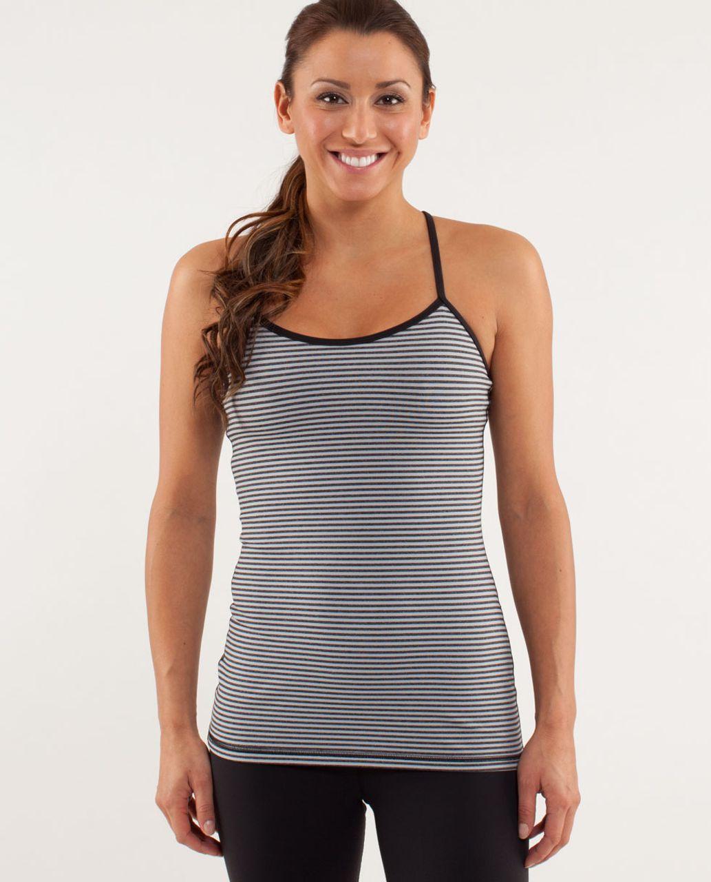 Lululemon Power Y Tank *Luon Light - Slope Stripe Silver Slate Heathered Black / Black