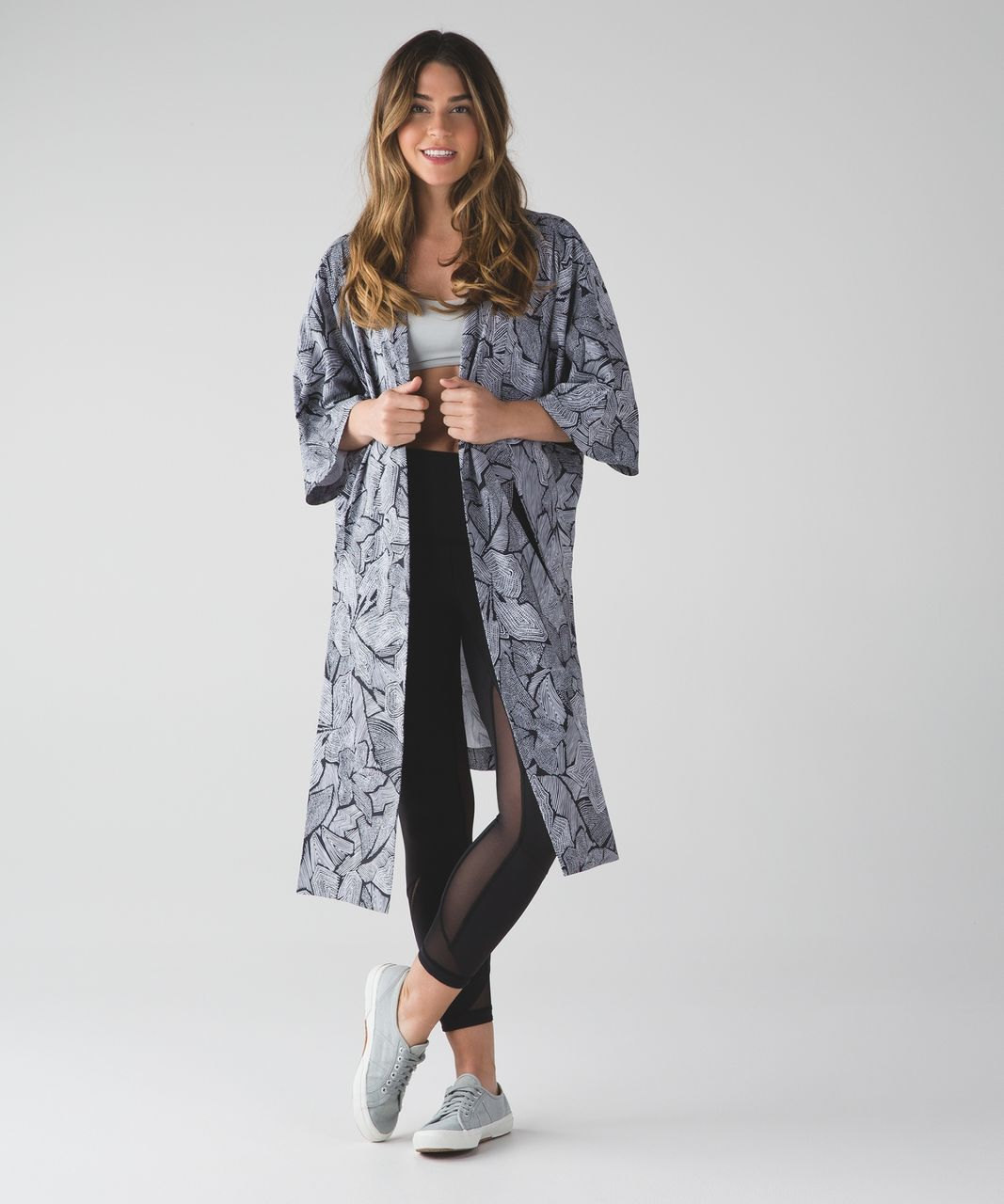 Lululemon Yoga Haven Kimono - Dottie Tribe White Black