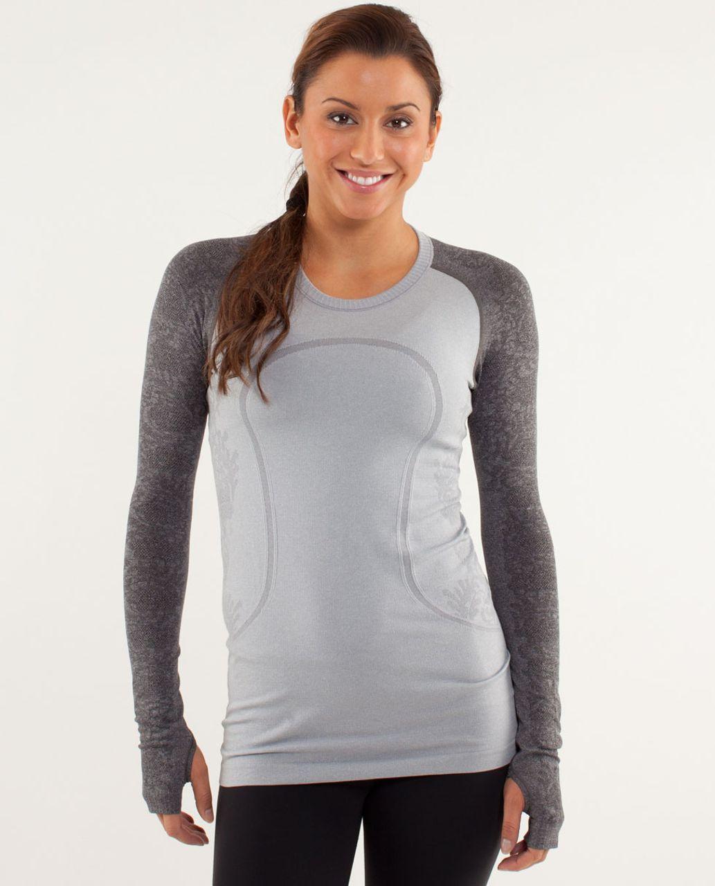 Lululemon Run:  Swiftly Tech Long Sleeve *Lace - Silver Slate / Black