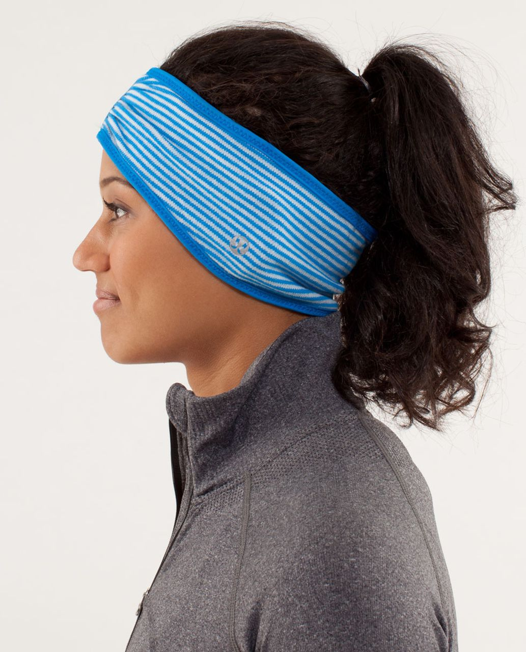 Lululemon Brisk Run Headband - Polar Cream /  Beaming Blue