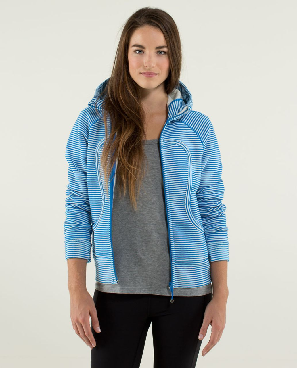 Lululemon Scuba Hoodie *Stretch - Slope Stripe Printed Polar Cream Beaming Blue