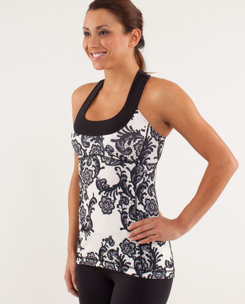 Lululemon Scoop Neck Tank - Laceoflage Polar Cream Black / Black
