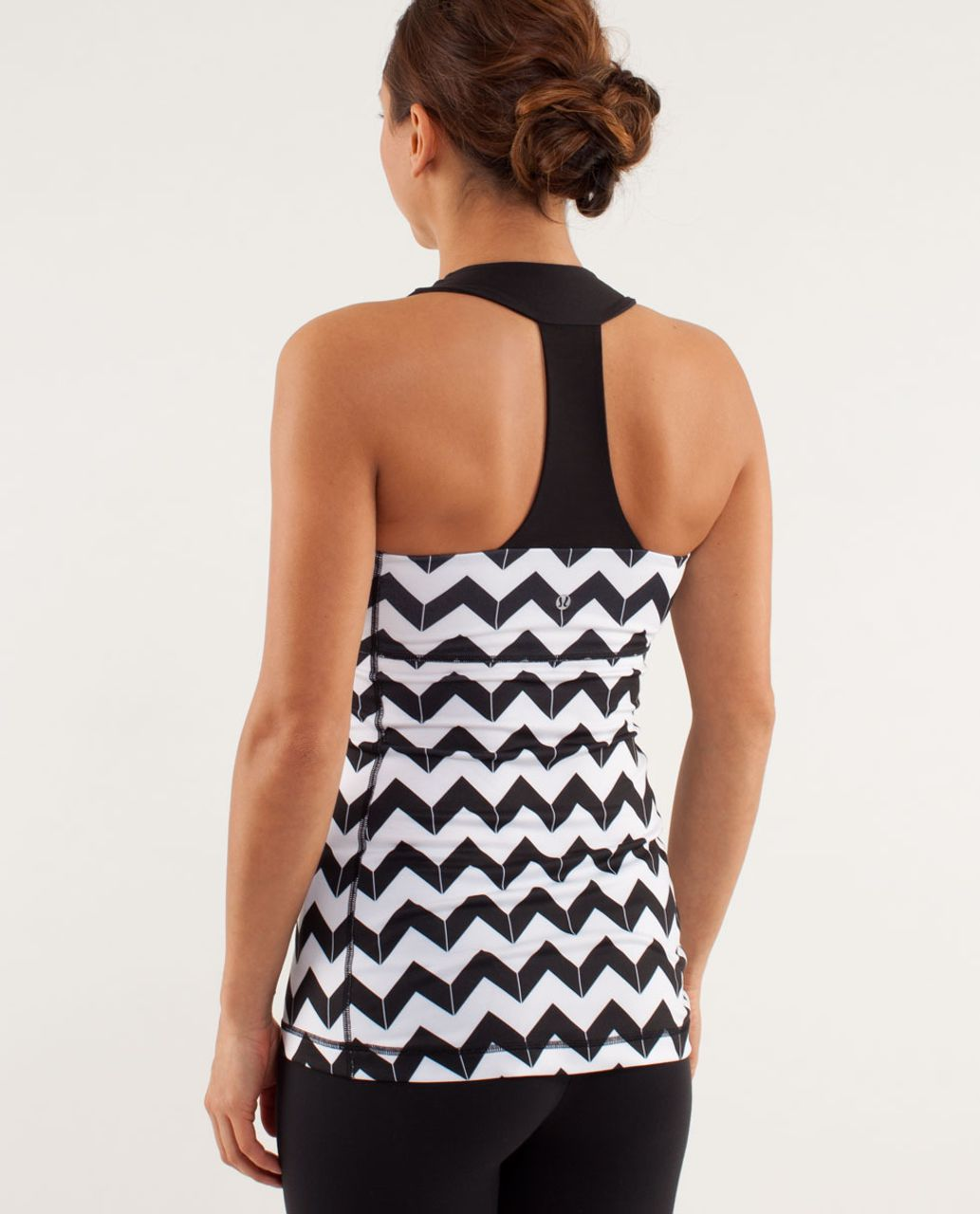 Lululemon Scoop Neck Tank - Arrow Chevron Polar Cream Black / Black