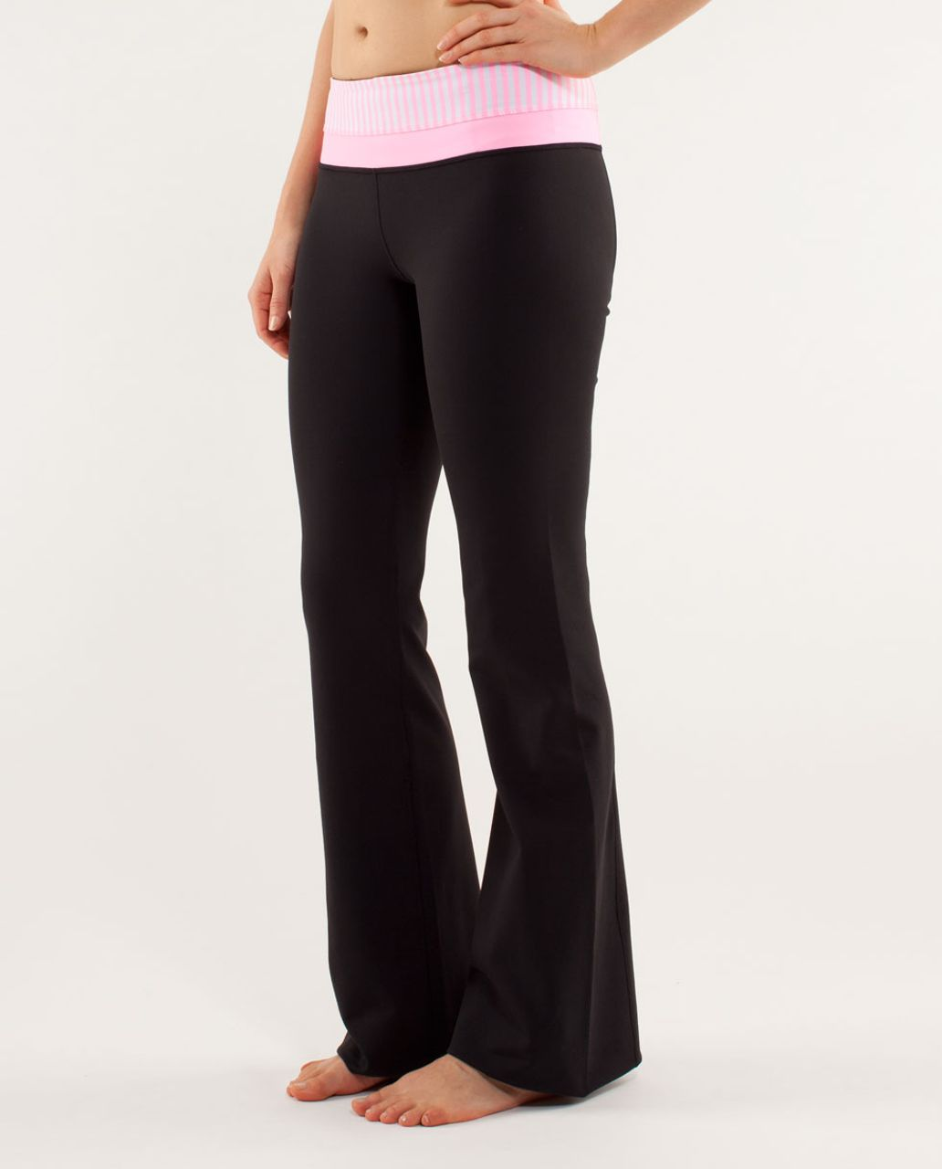 Lululemon Groove Pant *New (Tall) - Black / Classic Stripe White Pink Shell / Pink Shell