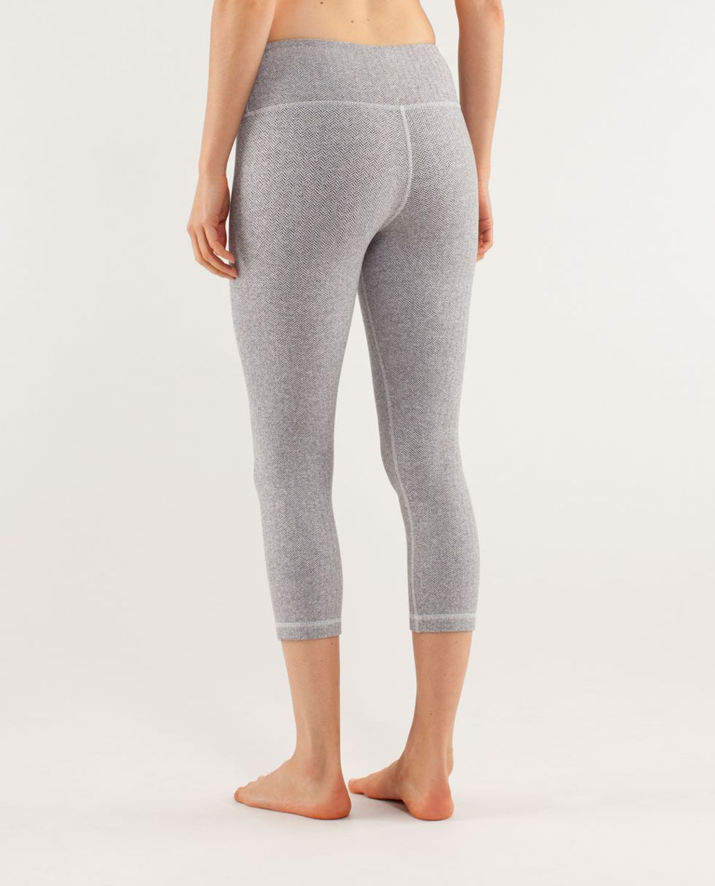 Lululemon Wunder Under Crop - Herringbone White Black