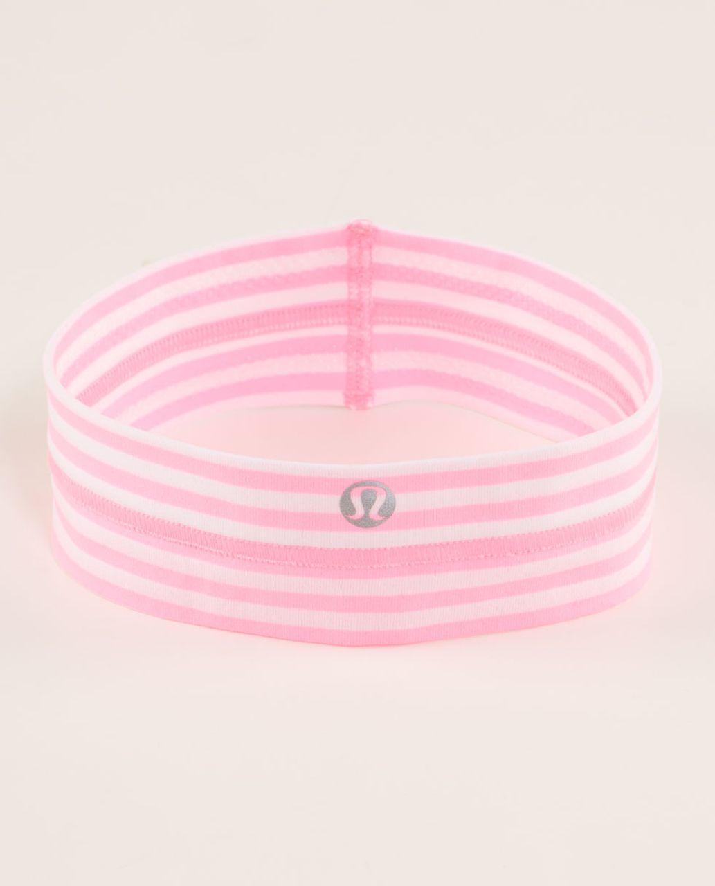 Lululemon Fly Away Tamer Headband - Classic Stripe White Pink Shell