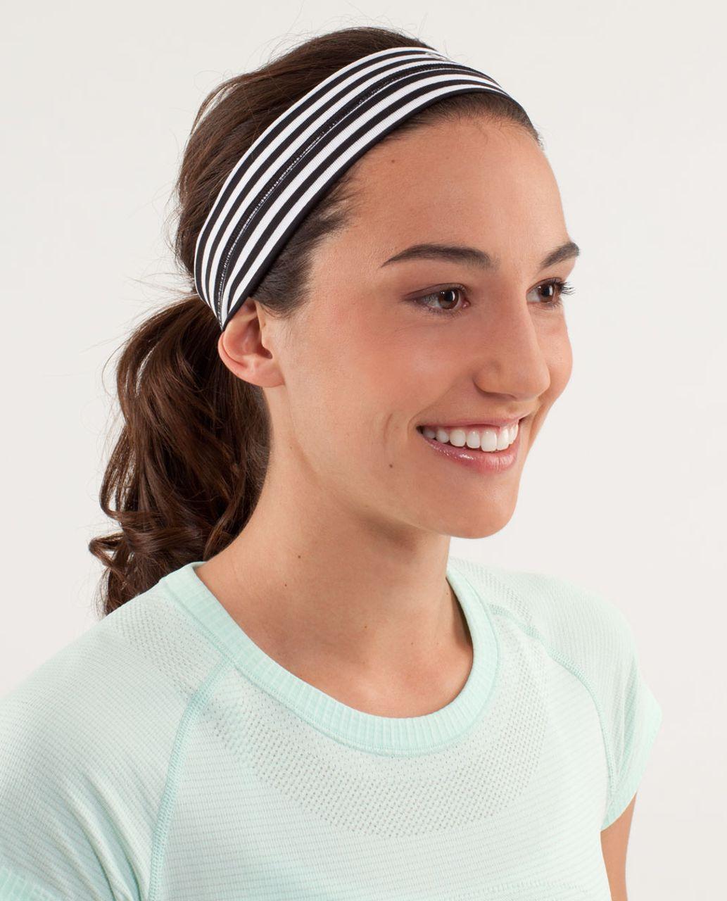 Lululemon Fly Away Tamer Headband - Classic Stripe Black And White