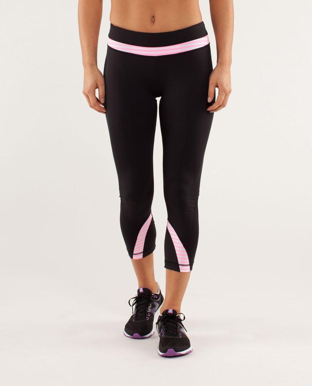 0b356bedc Lululemon Run  Inspire Crop II - Black   Classic Stripe White Pink Shell -  lulu fanatics