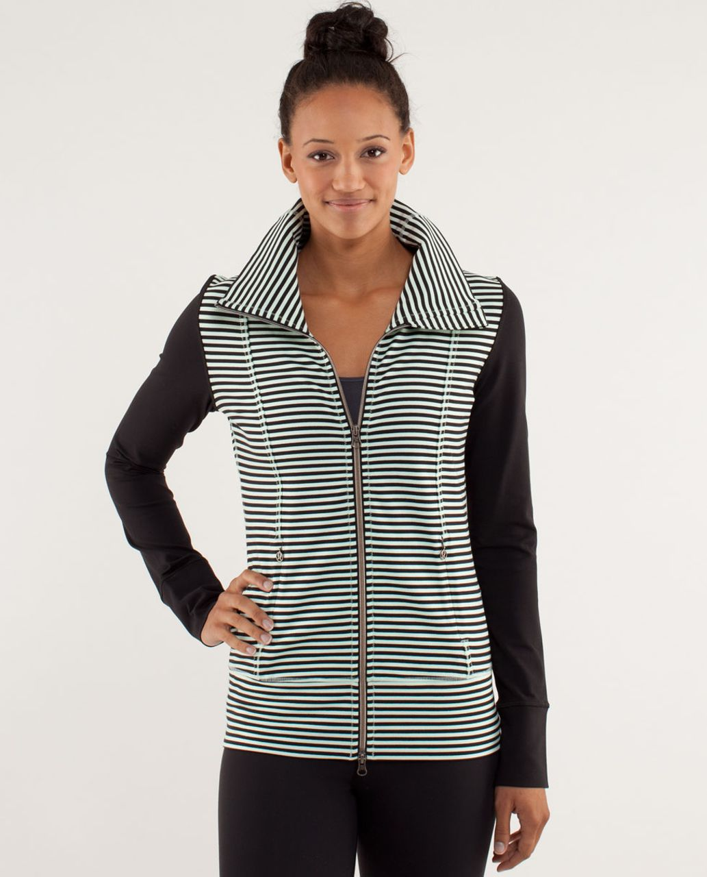 97fc614f57 Lululemon Daily Yoga Jacket - Classic Stripe Mint Moment Black / Black - lulu  fanatics