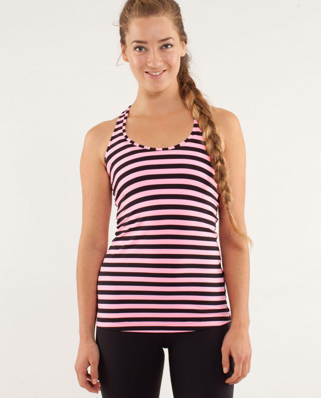Lululemon Cool Racerback - Sea Stripe Pink Shell