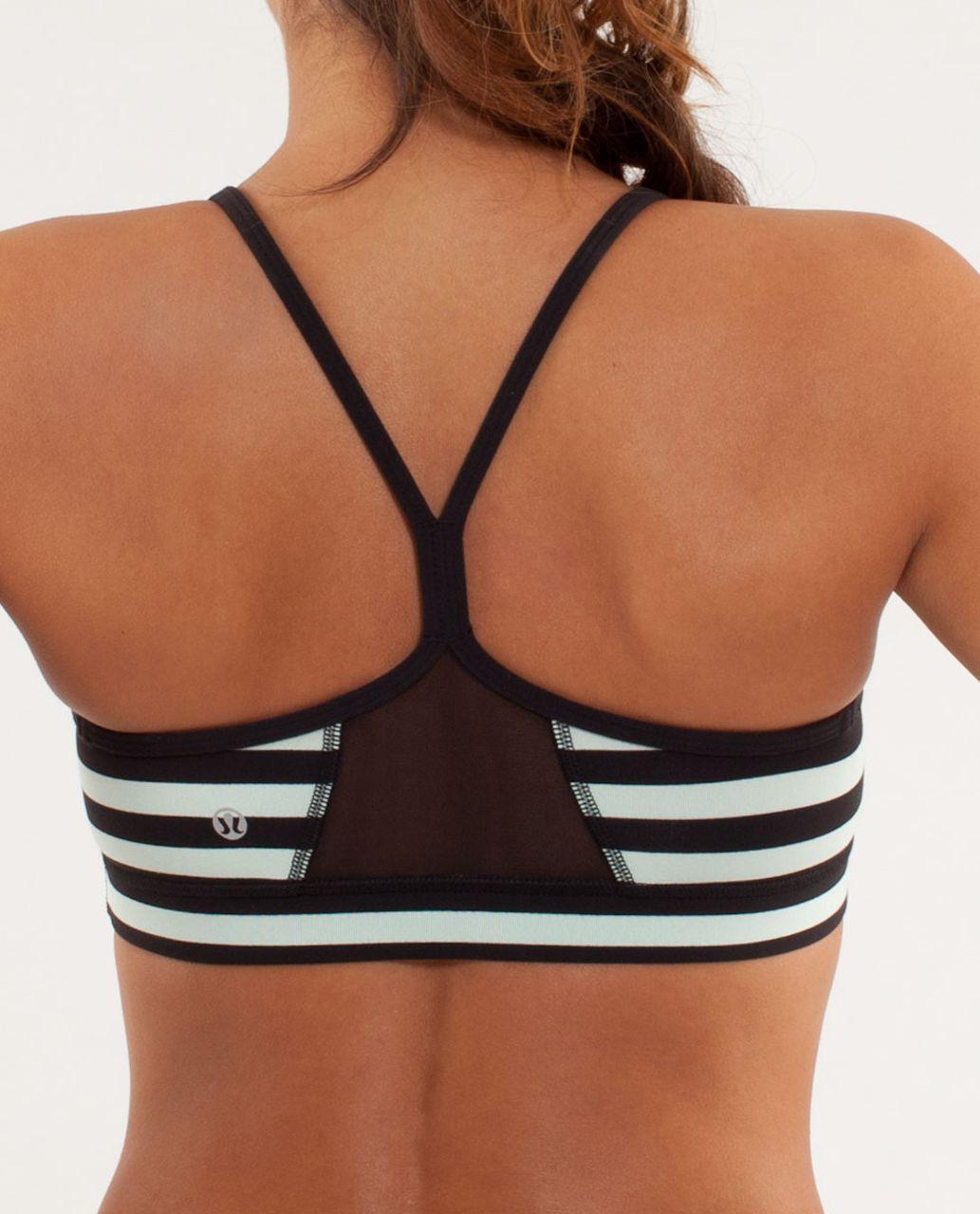 Lululemon Flow Y Bra IV - Sea Stripe Mint Moment Black / Black / Classic Stripe Mint Moment Black