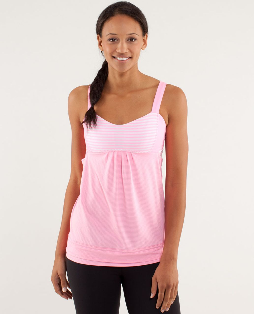 Lululemon run back on track tank pink shell classic for Swim shirt with built in bra