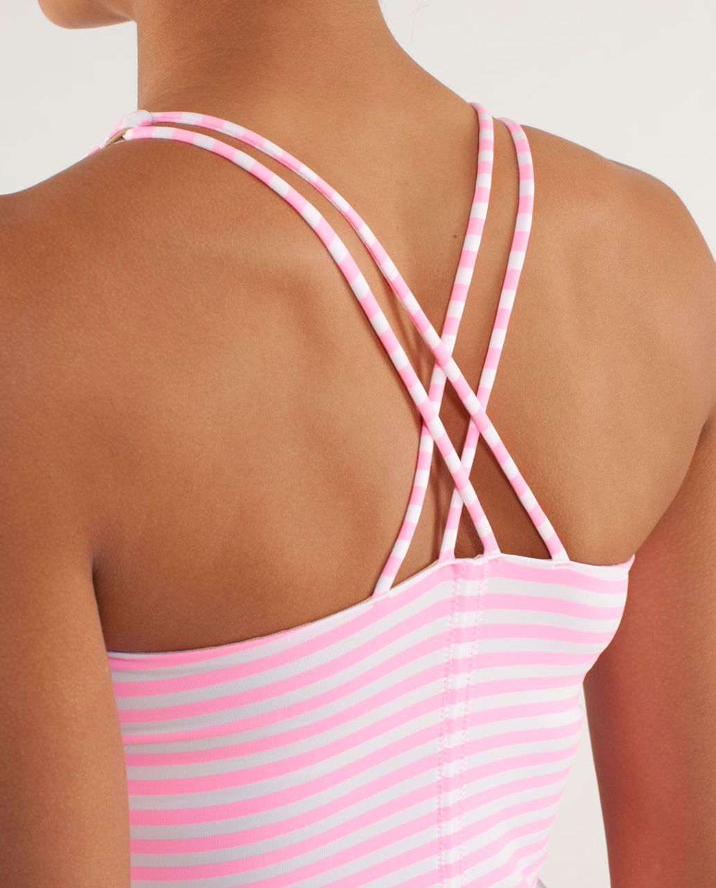 Lululemon Free To Be Tank - Classic Stripe White Pink Shell