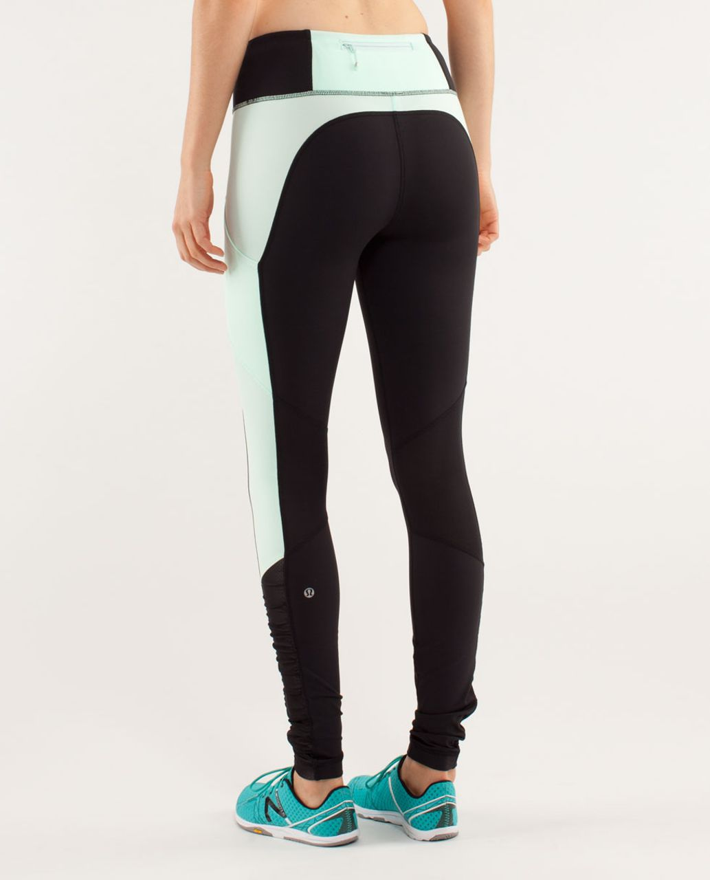 Lululemon Run:  Get Up And Glow Tight - Black / Mint Moment