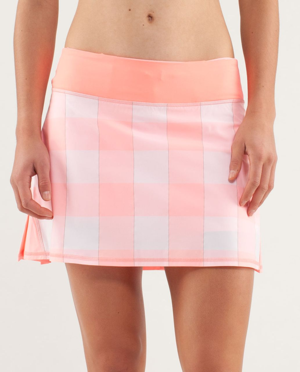 3a840d0dc6 Lululemon Run: Pace Setter Skirt (Tall) - Gros Gingham Bleached Coral / Pop