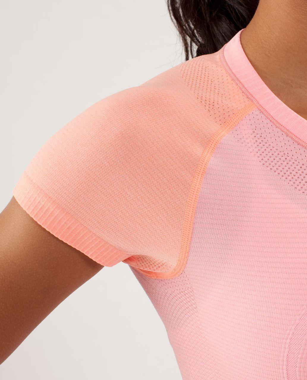Lululemon Run:  Swiftly Tech Short Sleeve - Bleached Coral / Pop Orange