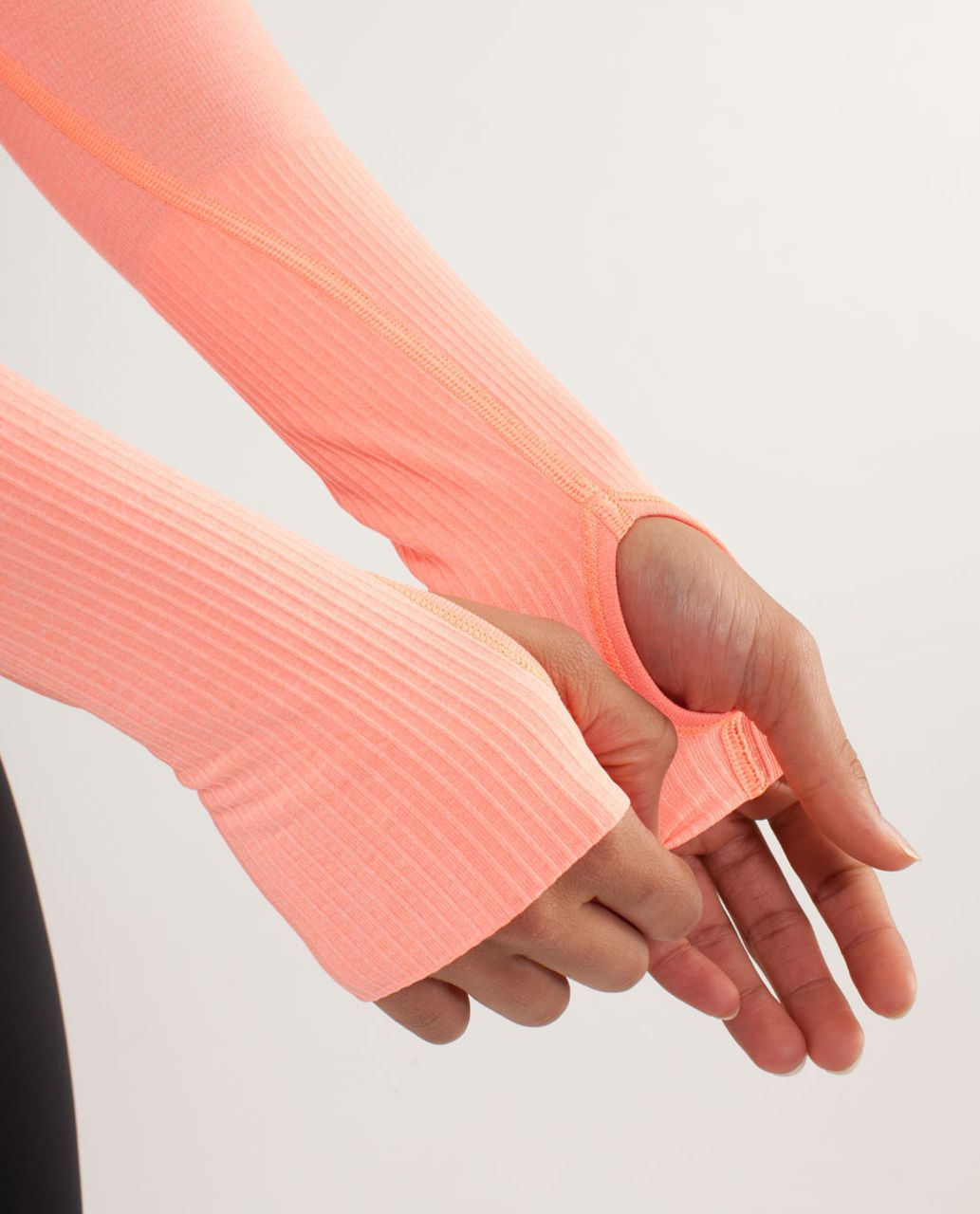 Lululemon Run:  Swiftly Tech Long Sleeve - Bleached Coral / Pop Orange