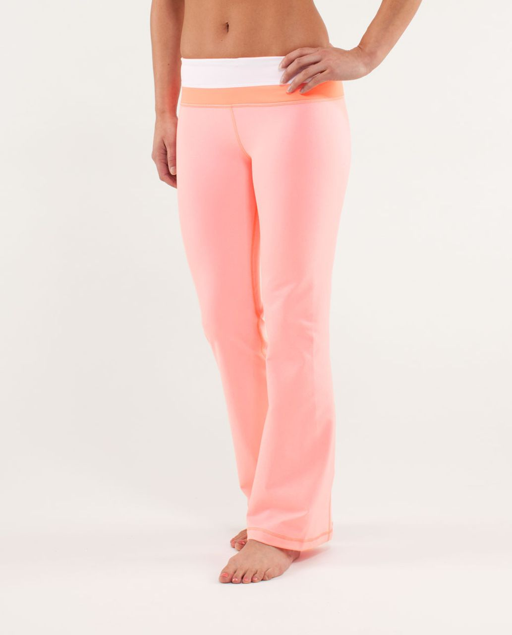 Lululemon Groove Pant *New (Regular) - Bleached Coral / White / Pop Orange