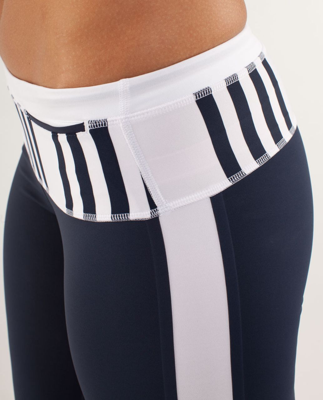 Lululemon Run:  Proceed With Speed Crop - Inkwell / White / Ocean Stripe Inkwell
