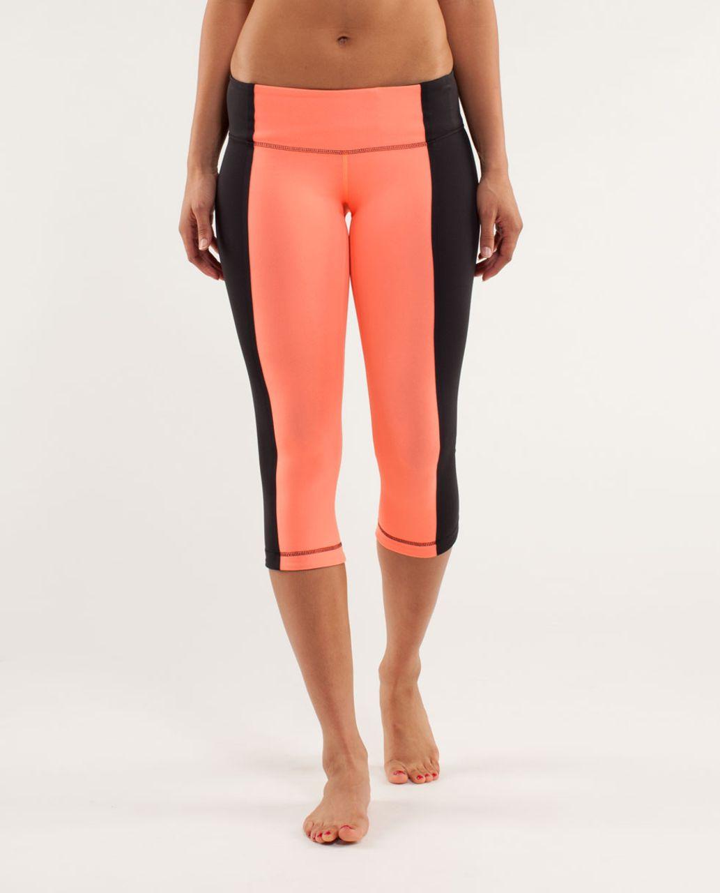 Lululemon Wunder Under Crop *Bonded Stripe - Black / Pop Orange / Black