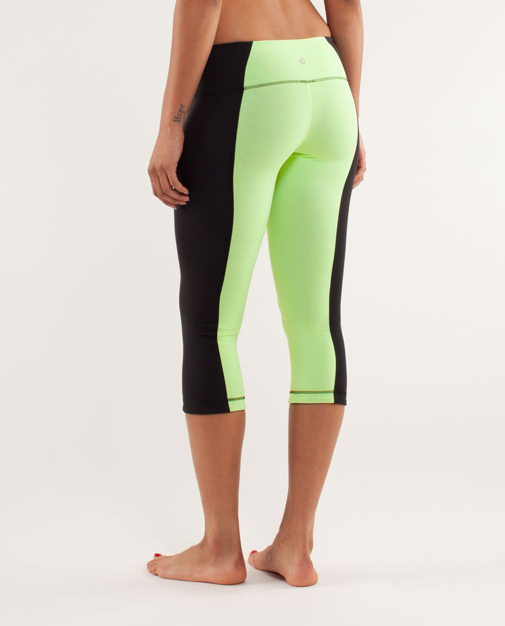 Lululemon Wunder Under Crop *Bonded Stripe - Black / Faded Zap / Black