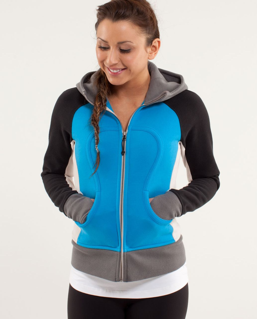 Lululemon Scuba Hoodie *Stretch (Lined Hood) - Beach Blanket Blue / Dune / Black