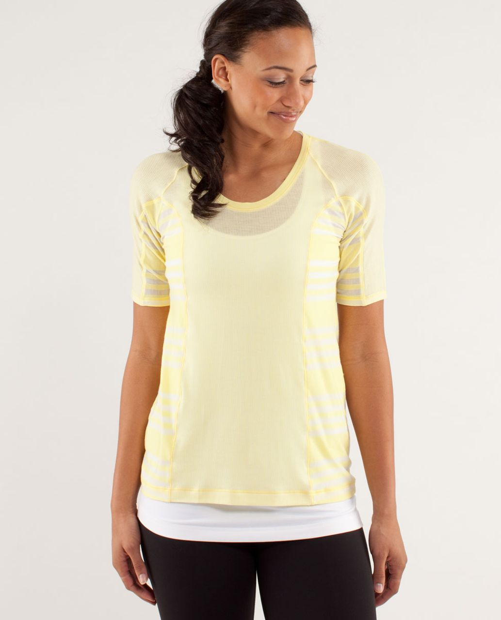 Lululemon Puri Tee Short Sleeve - Tonka Stripe Mellow Lemon / Mellow Lemon / Ocean Stripe Mellow Lemon