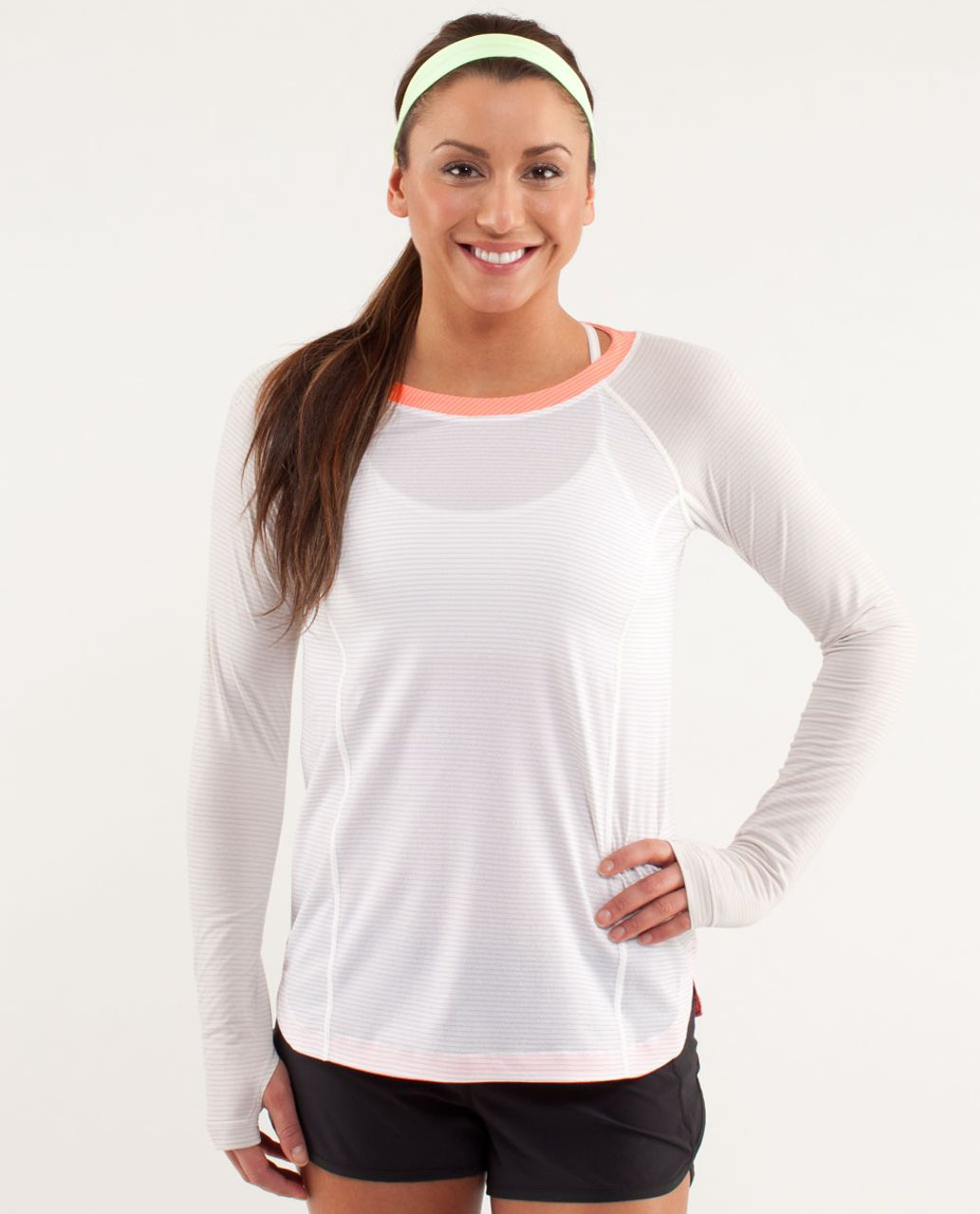 Lululemon Run:  Turn It Up Long Sleeve - White / Dune / Pop Orange