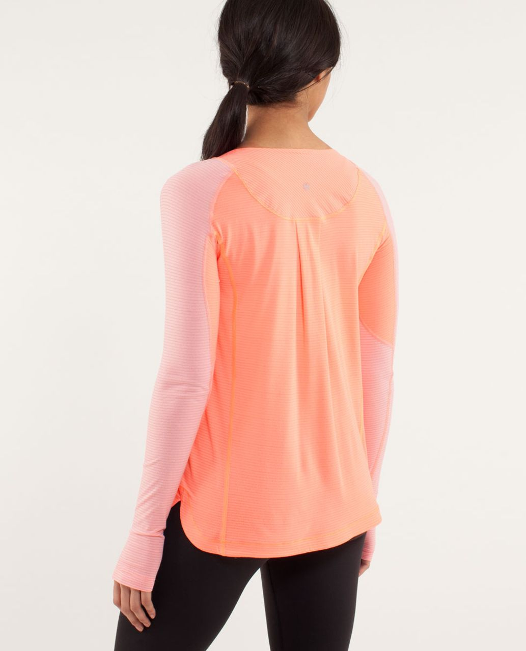 Lululemon Run:  Turn It Up Long Sleeve - Pop Orange / Dune / Wagon Stripe Pop Orange