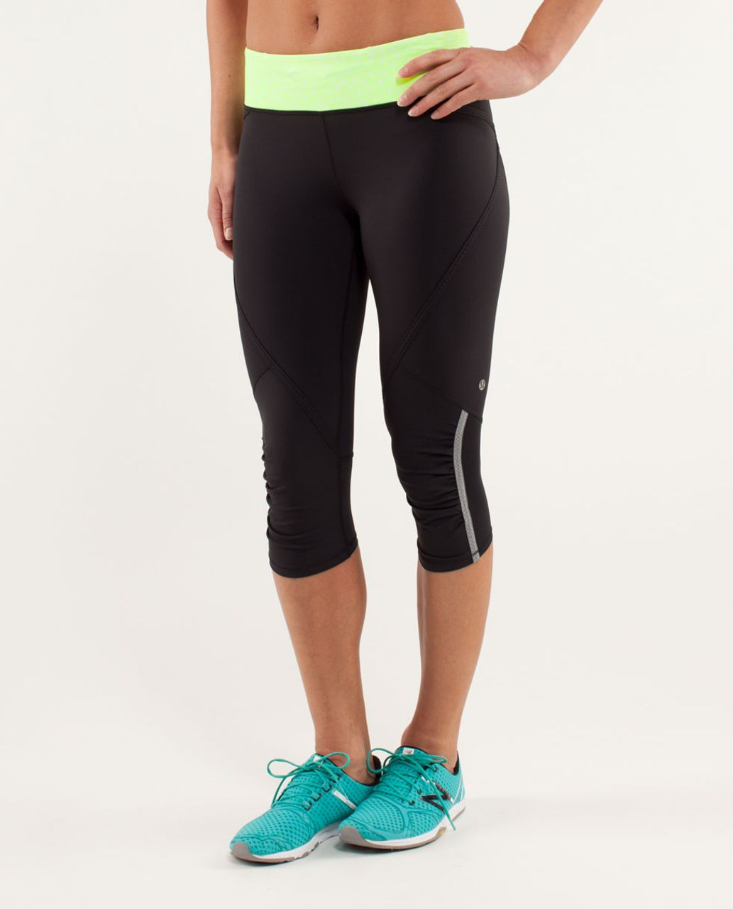 Lululemon Run:  Pace Crop - Black / Petit Dot Faded Zap / Faded Zap