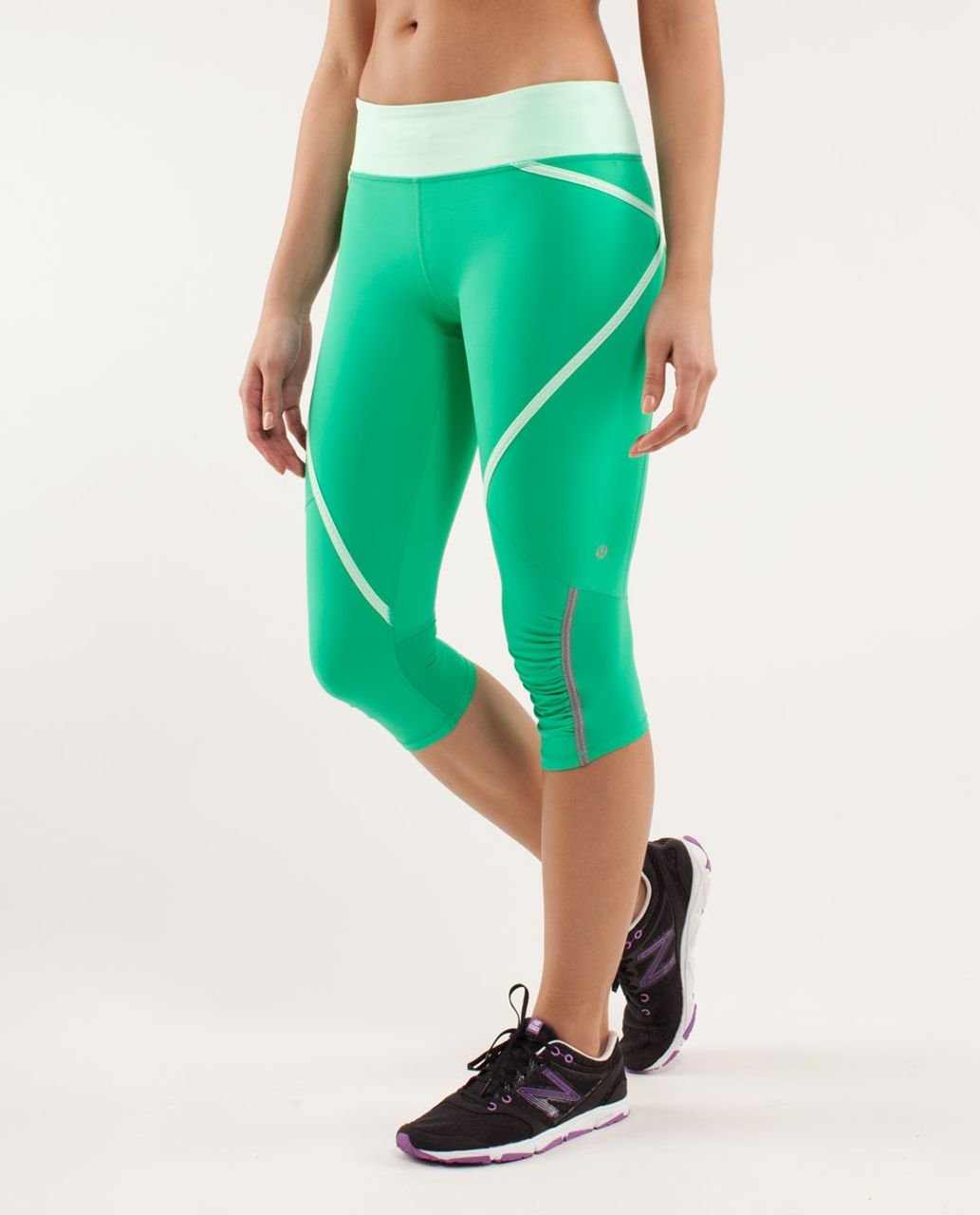 Lululemon Run:  Pace Crop - Very Green / Fresh Teal