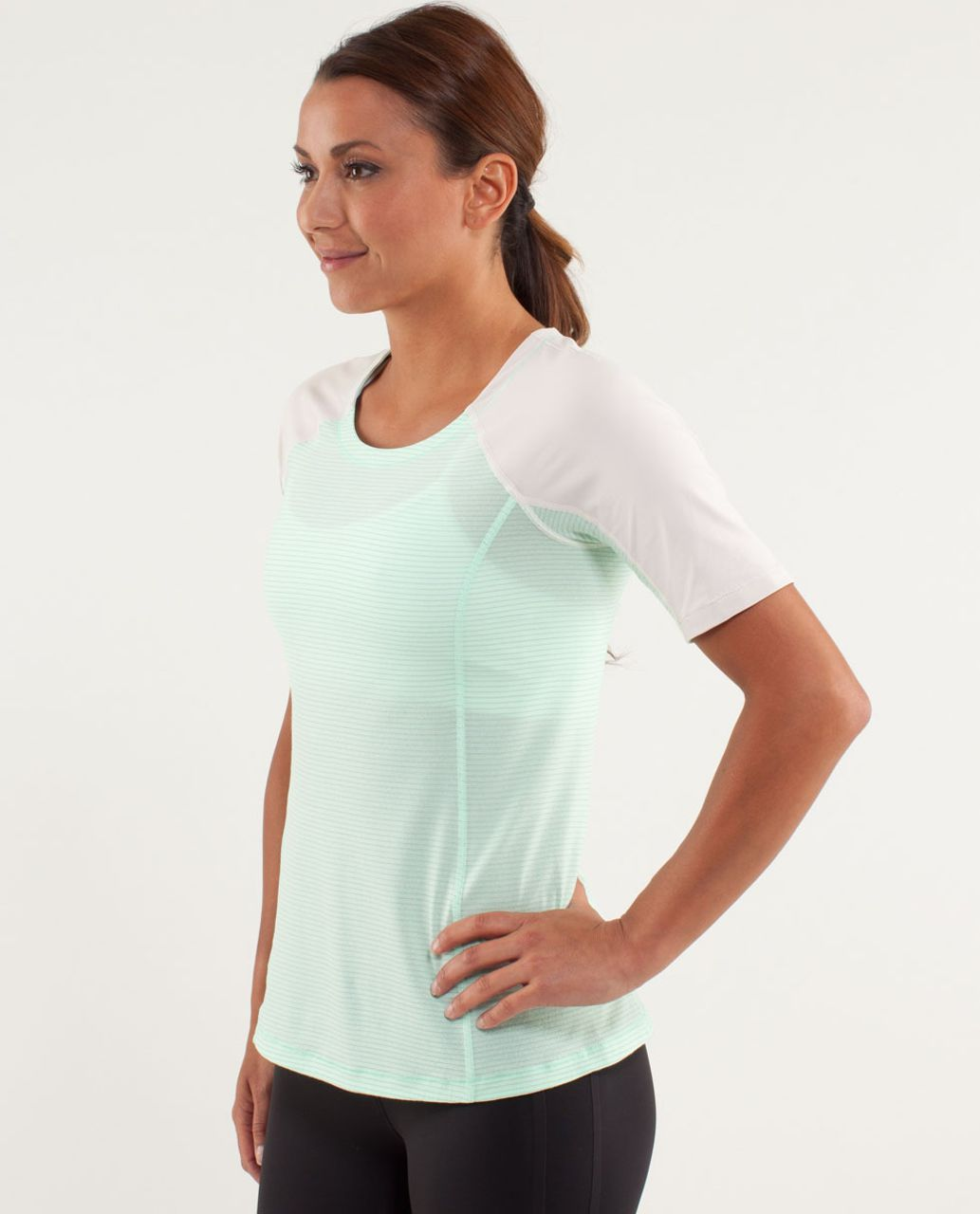 Lululemon Run:  Turn It Up Tee - Fresh Teal / Dune / Wagon Stripe Fresh Teal