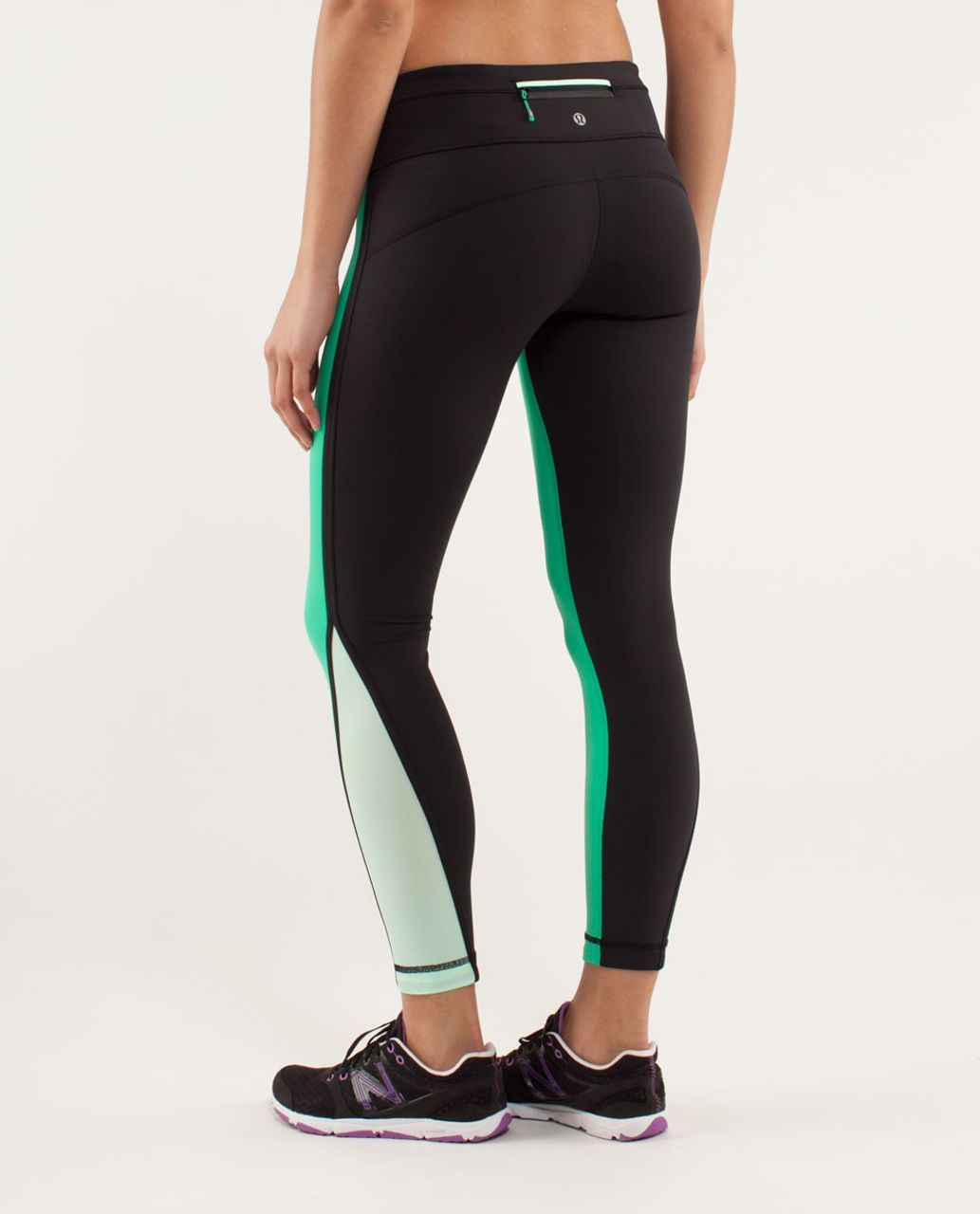 Lululemon Run:  Pace Tight - Very Green / Black / Fresh Teal