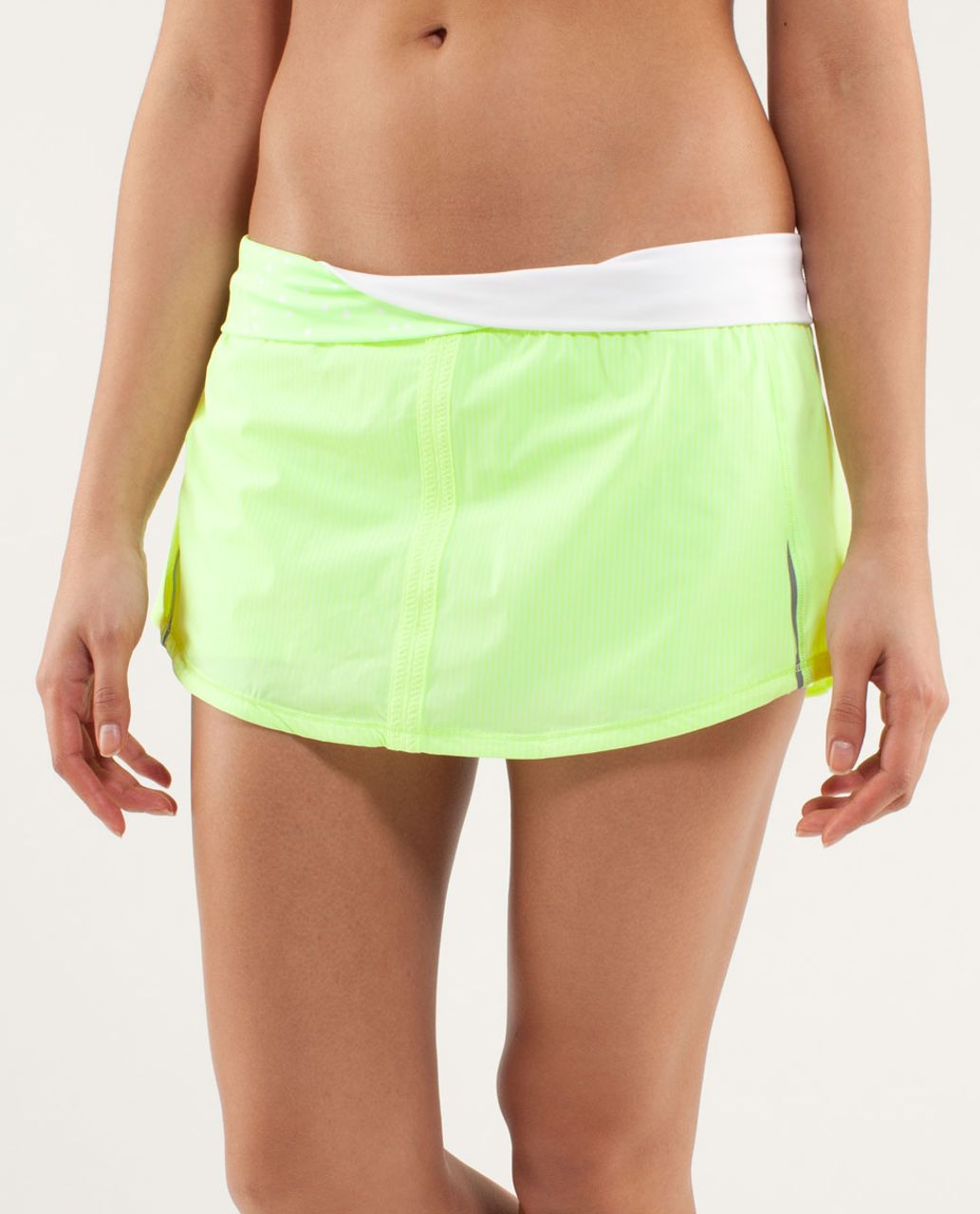 Lululemon Run:  Pace Skirt - Wagon Stripe Faded Zap / Petit Dot Faded Zap / White