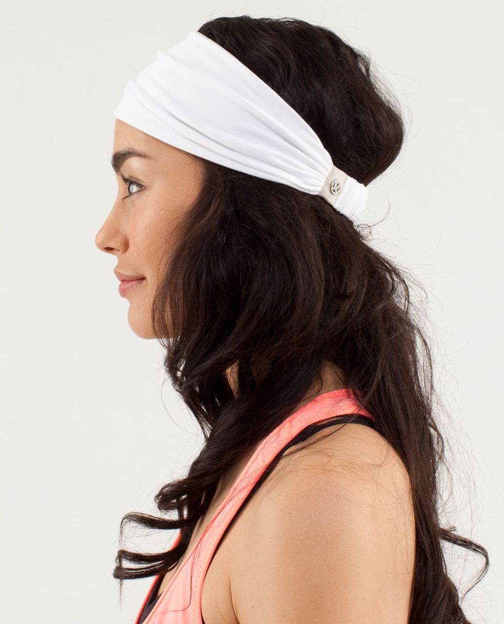 Lululemon Bang Buster Headband *Reversible - White / Petit Dot Dune