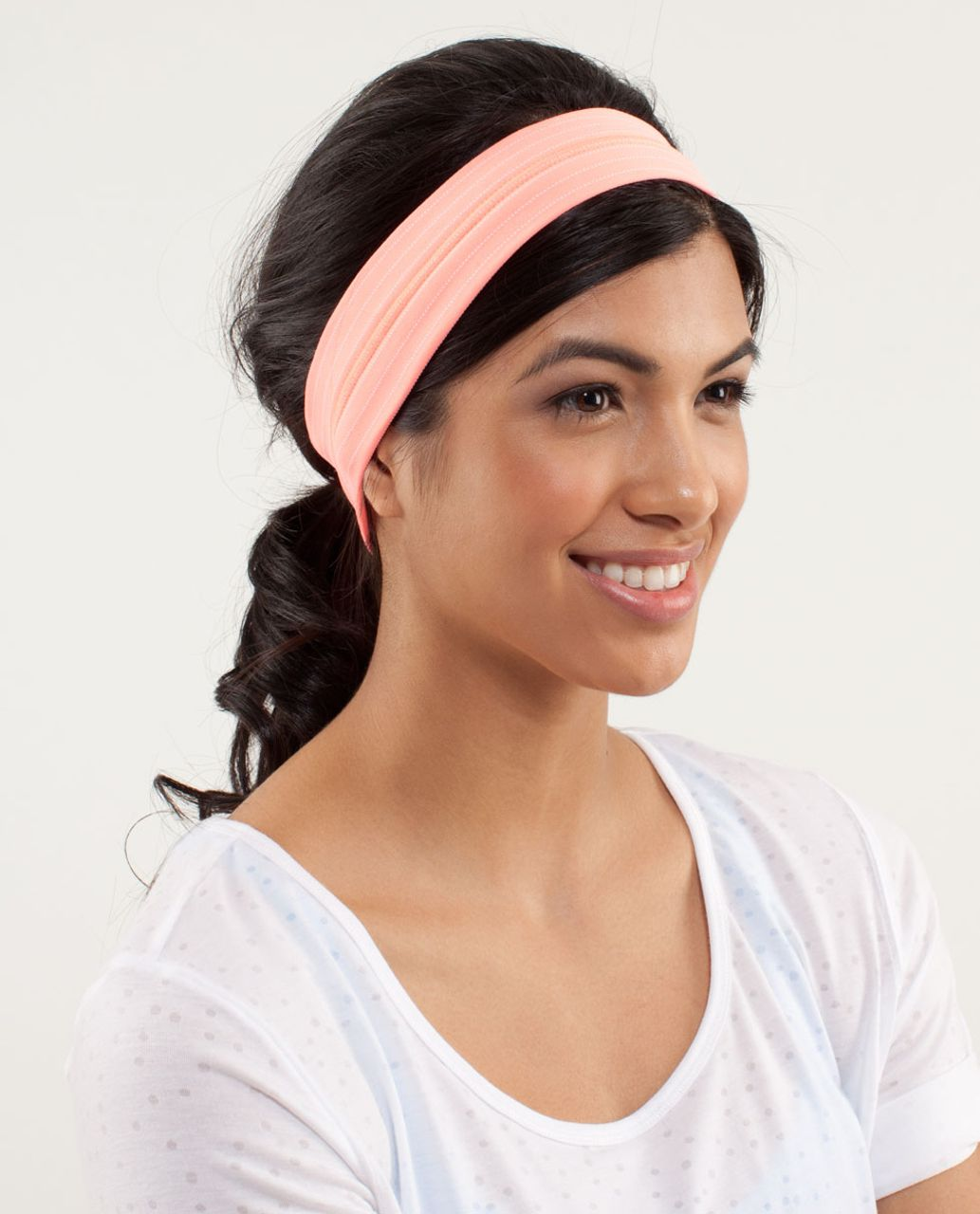 Lululemon Fly Away Tamer Headband *Pinstripe - Pop Orange