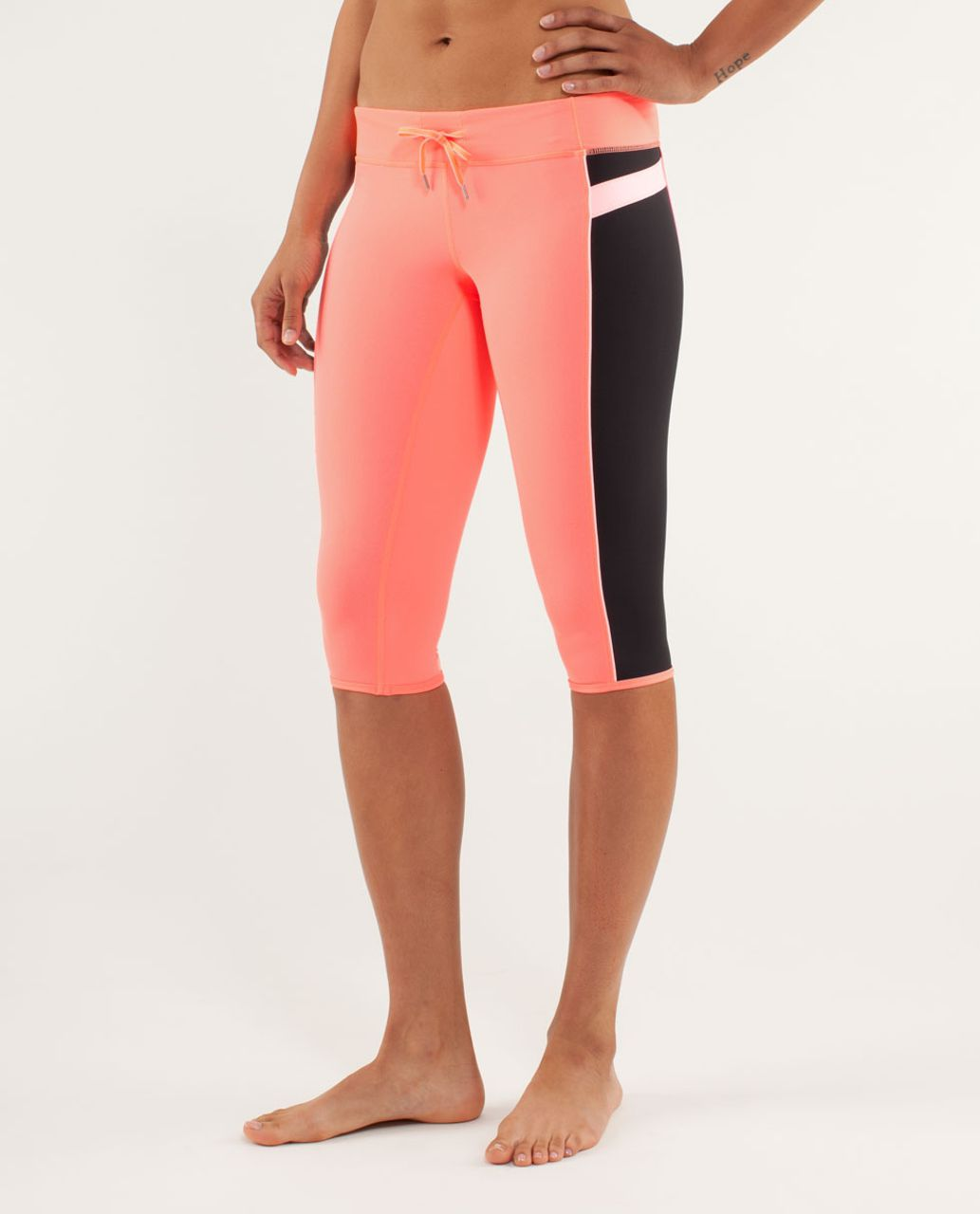 Lululemon Heat It Up Crop - Pop Orange / Black / Bleached Coral