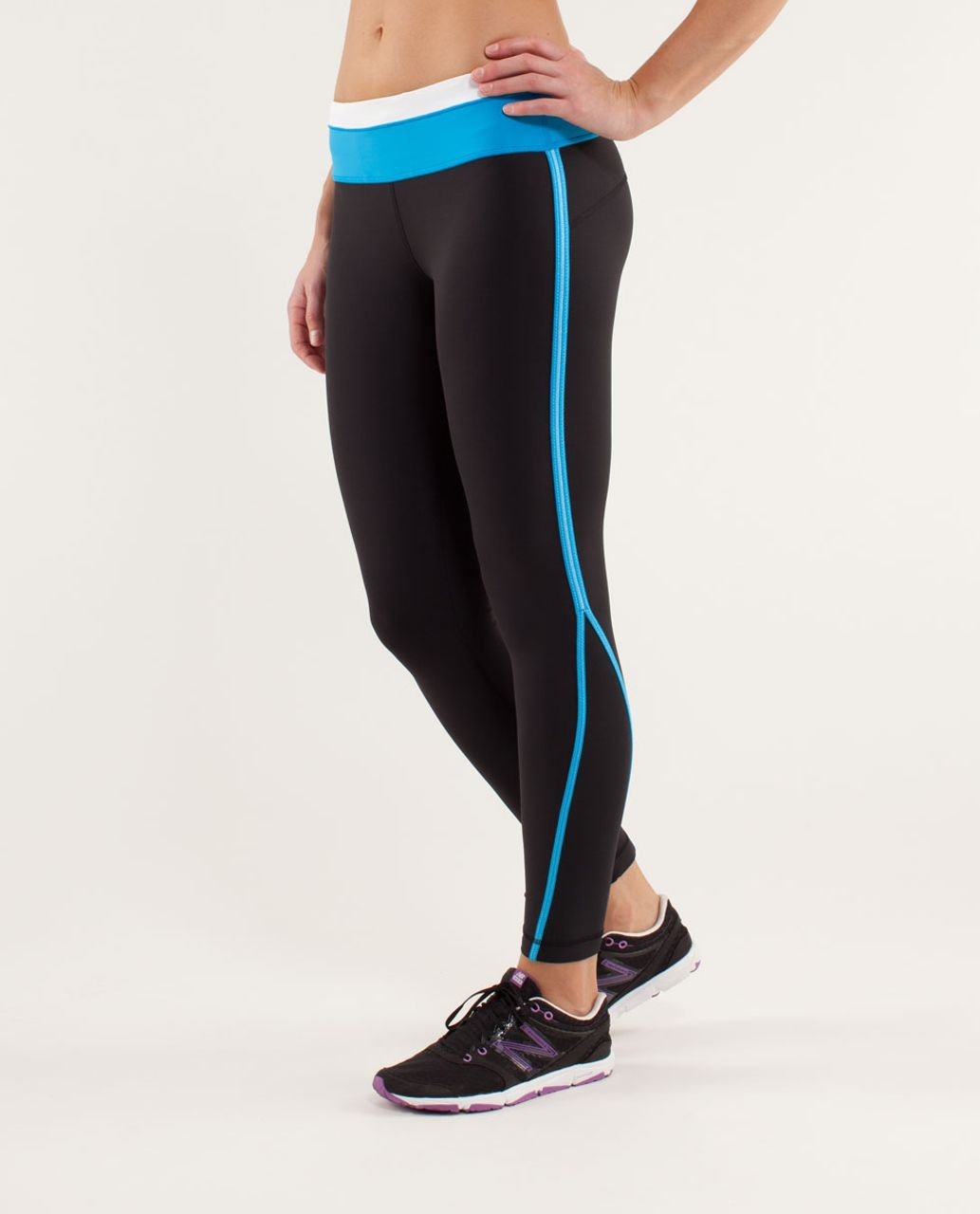 Lululemon Run:  Pace Tight - Black / Beach Blanket Blue / White