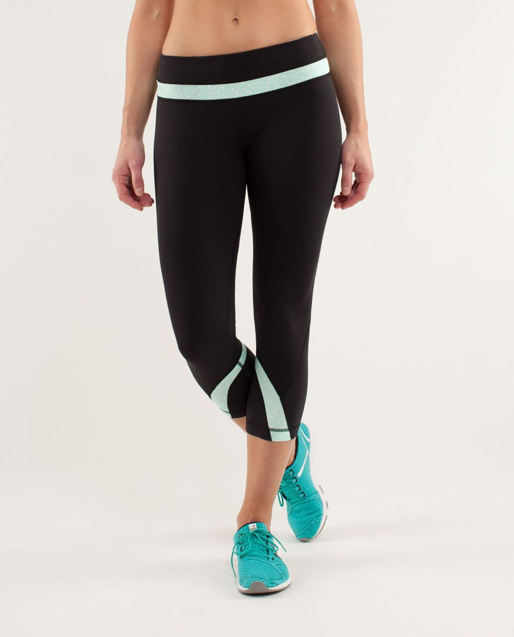 Lululemon Run:  Inspire Crop II - Black / Petit Dot Fresh Teal