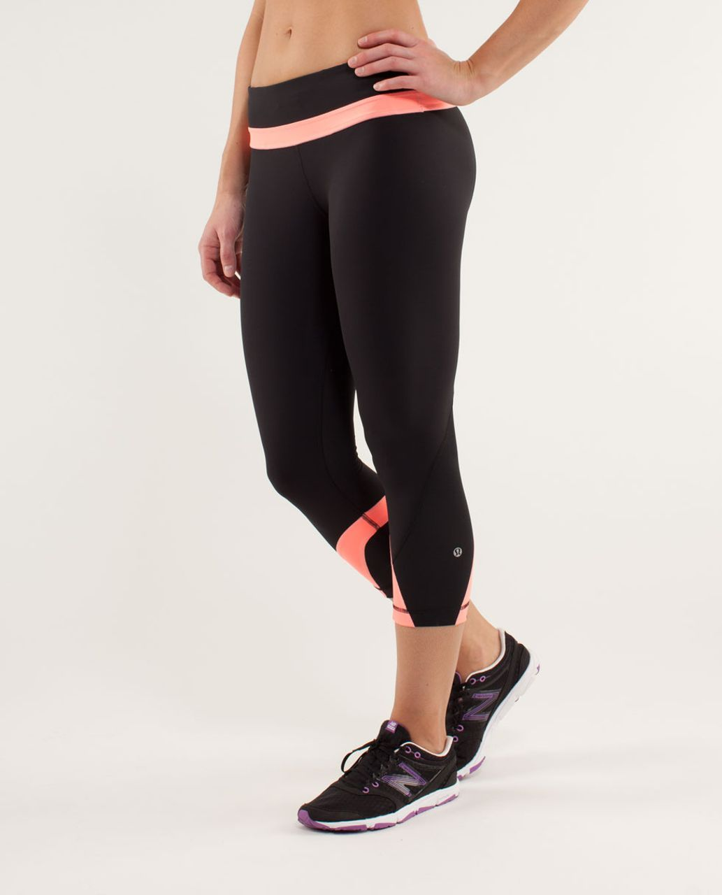 Lululemon Run:  Inspire Crop II - Black / Pop Orange