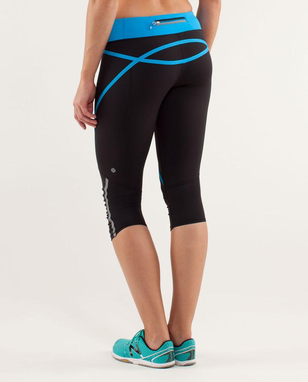 Lululemon Run:  Pace Crop - Black / Beach Blanket Blue / Wee Are From Space Aquamarine