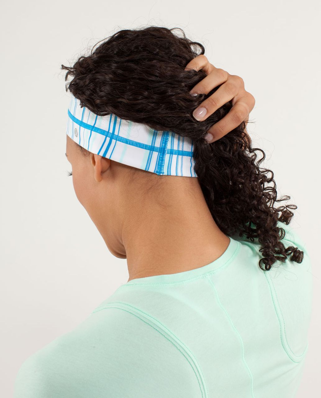 Lululemon Fly Away Tamer Headband - Candy Stripe Aquamarine