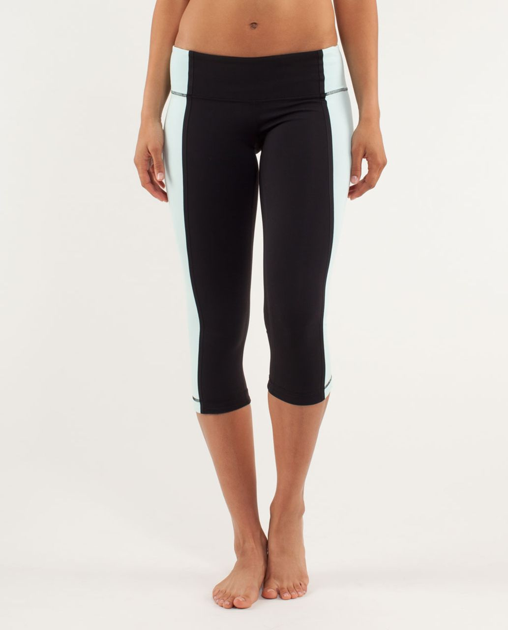Lululemon Wunder Under Crop *Bonded Stripe - Black / Aquamarine