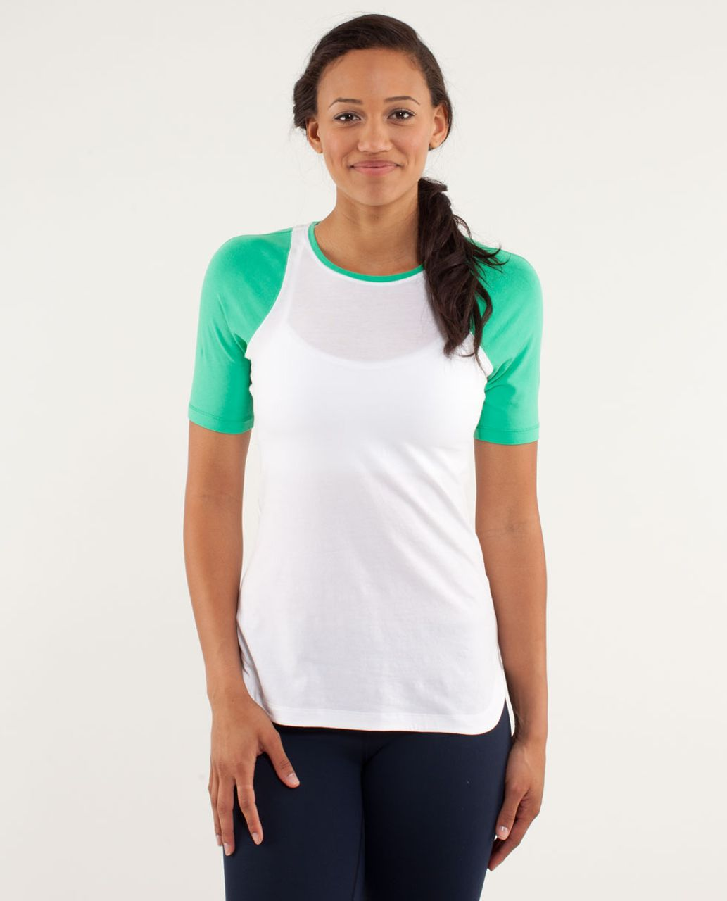 Lululemon Clari-Tee Short Sleeve - White / Very Green