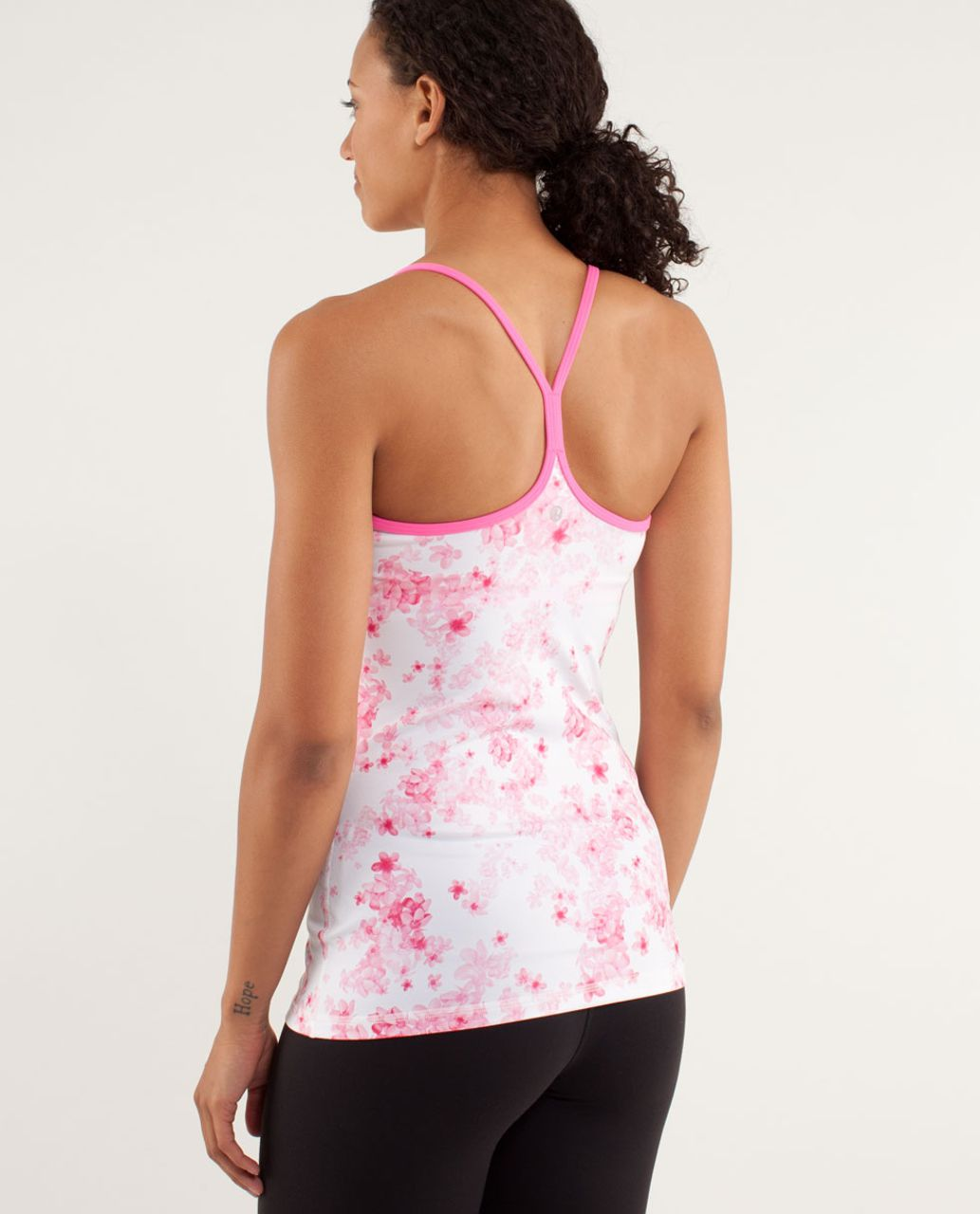 Lululemon Power Y Tank *Luon Light - Frangipani Parfait Pink / White